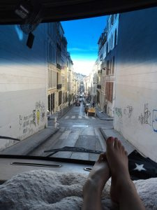 A road in Marseilles city centre that ends up being 2.6m wide at the bottom. Gulp.