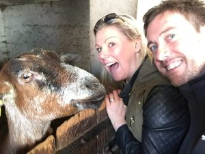 This is us with a goat in France. There is no reason for me adding a photo of us with a goat. And yet here it is.