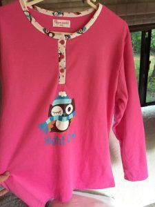 Ju's pink owl Benidorm pyjamas